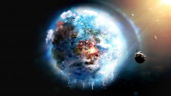 Earth destruction fire frozen futuristic Wallpaper