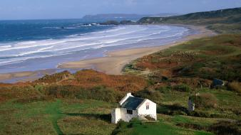 Ireland bay beaches landscapes white wallpaper