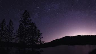 Lakes night skyscapes stars trees wallpaper