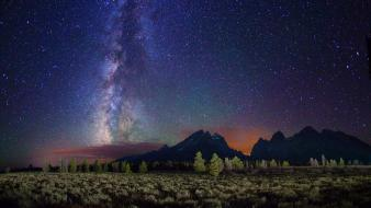 Milky way horizon night stars wallpaper