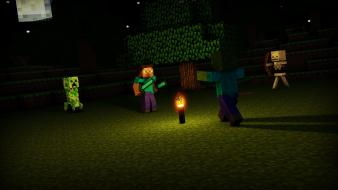 Minecraft moon steve cinema 4d creeper wallpaper