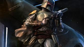 Star wars artwork bounty hunter science fiction wallpaper
