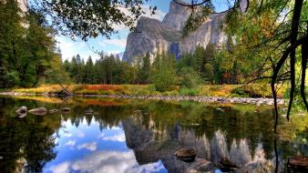 Lakes landscapes mountains reflections trees wallpaper