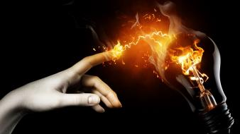 Artwork black background electricity fire hands Wallpaper