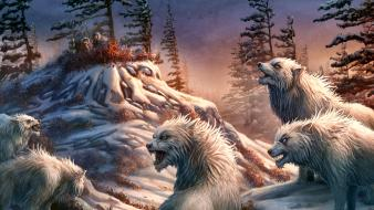 Animals creatures fantasy art wolves Wallpaper