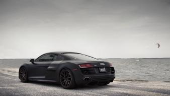 Audi r8 black cars ocean scenic wallpaper