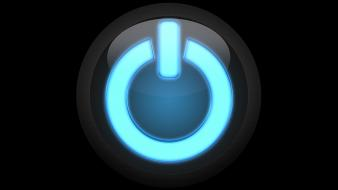 Blue effects electric power button shiny wallpaper