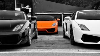 Lamborghini gallardo black cars orange selective coloring wallpaper