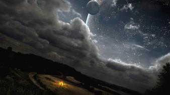 Landscapes planets science fiction stars wallpaper