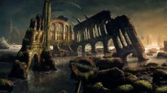 Post apocalyptic ruins science fiction wallpaper