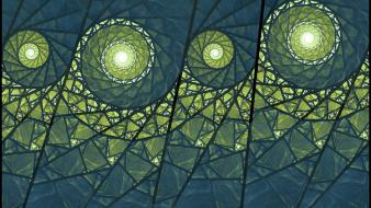 Abstract blue fractals green lanterns wallpaper