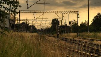 Hdr photography poland wrocław landscapes railroad tracks wallpaper