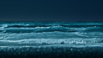 Beaches night shore waves Wallpaper