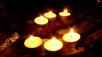 Black background candles fire nature tealight wallpaper
