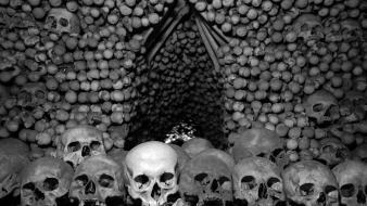 Czech republic bones chapel churches skulls wallpaper