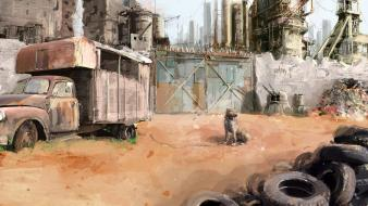 Deserts digital art dogs fantasy post apocalyptic wallpaper