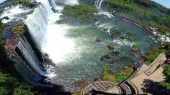 Iguazu falls nature panorama circle waterfalls Wallpaper