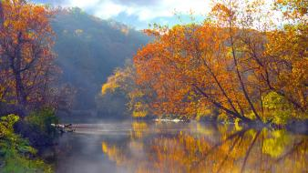 Ohio autumn lakes mountains reflections Wallpaper
