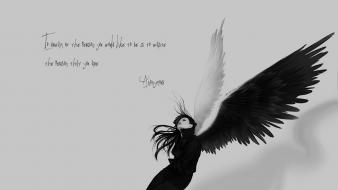 Anonymous angels monochrome quotes sad wallpaper