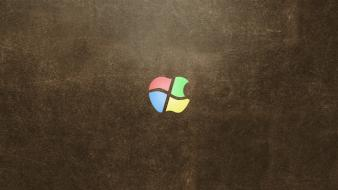 Apple inc microsoft windows logos wallpaper