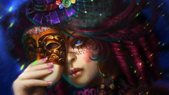 Artistic blue eyes fantasy art glitter hats wallpaper
