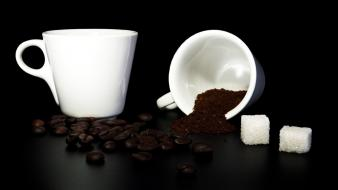 Beans black background coffee cups sugar cubes wallpaper