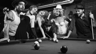 Billiards black and white monochrome smoking vintage wallpaper