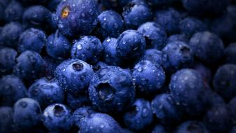 Blueberries fruits macro water drops wallpaper