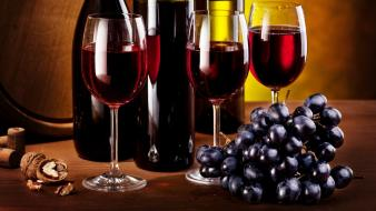 Bottles food glass grapes wine wallpaper
