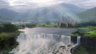 Castles fantasy art water body waterfalls wallpaper