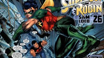 Dc comics robin superboy superheroes Wallpaper