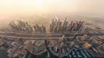 Dubai cityscapes highways ships wallpaper