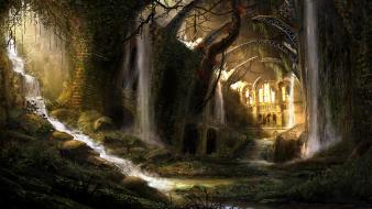 Fantasy art forests landscapes ruins sunlight Wallpaper