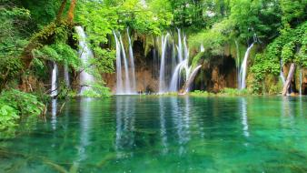 Lakes trees waterfalls wallpaper