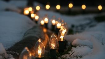 Light bulbs lights macro snow winter wallpaper