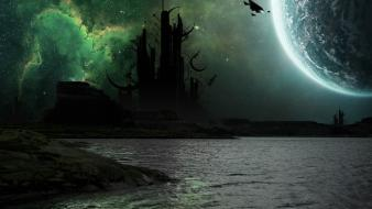 Moon alien landscapes artistic castles fantasy art wallpaper