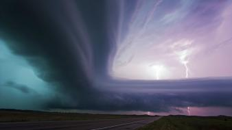 Nebraska supercell clouds lightning roads wallpaper