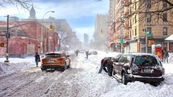 New york city cityscapes streets winter wallpaper