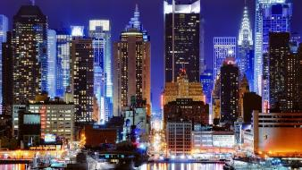 New york city lights cityscapes harbours night wallpaper
