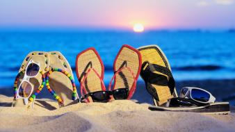 Sun beaches sand shoes sunglasses wallpaper