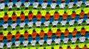Green blue white yellow orange crochet double Wallpaper